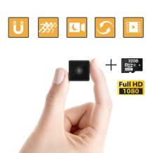 Mini Spy Camera Wireless Hidden,Webcam for Computer Laptop, 1080P Full HD Cop Spy Cam Body Camera, Security Nanny Cam Home,Car,Office Indoor Outdoor, 32GB SDHC Memory Card
