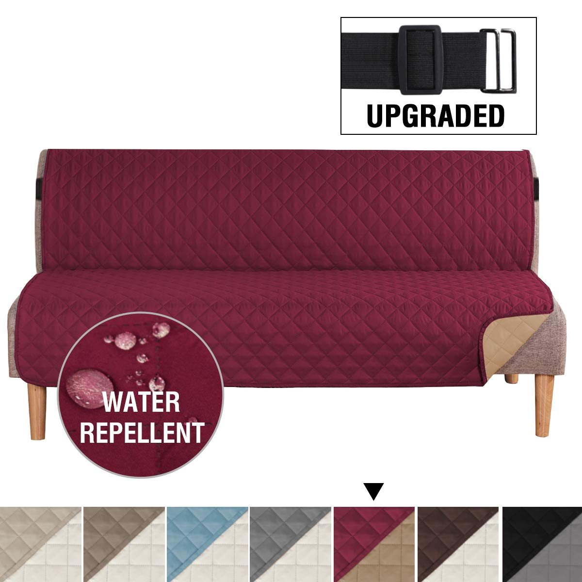 """H.VERSAILTEX Reversible Futon Slipcover Seat Width Up to 70"""" Washable Furniture Protector Water Repellent Futon Cover for Living Room 2"""" Elastic Strap Anti-Slip Futon Cover for Dogs Burgundy/Tan"""