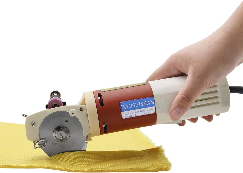 BAOSHISHAN YJ-65 Electric Fabric Cutter Cloth Cutting Machine Rotary Mini Cutter Scissors 150W for Multi Layer Cloth Leather (0.86 Inch) (220V)