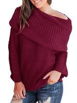 Sherrylily Womens Off The Shoulder Cowl Neck Sweaters Pullovers Long Sleeve Solid Color Oversized Jumpers Rose Red