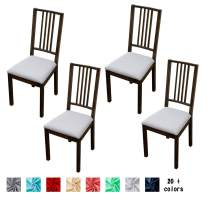Argstar 4 Pack Soft Original Jacquard Furniture Protector for Kitchen Chair Seat, Stretch Removable Dining Chair Seat Slip Covers 4 Pack, Light Grey