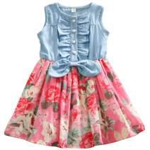 Jastore Kids Girls Dress Summer Princess Dresses Sleeveless Denim Tops Floral Tutu Skirts