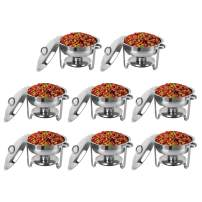 ROVSUN 5 Qt 8 Packed Full Size Stainless Steel Chafing Dish Buffet Silver Round Catering Warmer Set with Food and Water Trays, Mirror Cover, Thick Stand Frame for Kitchen Party Banquet