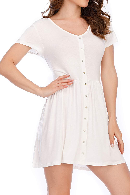 VZULY Women's Casual Summer T-Shirt Sundress Short Sleeve Mini Dress with Buttons