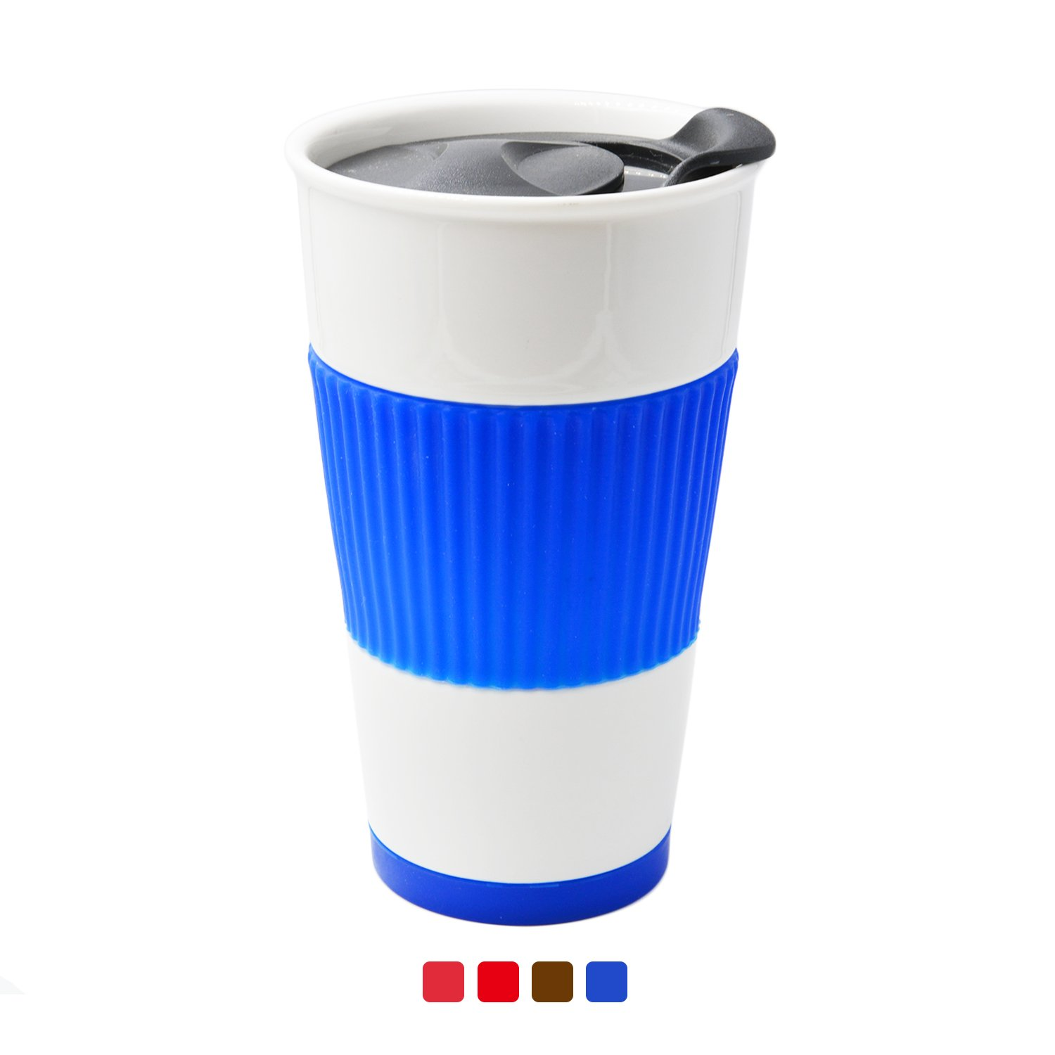 UDMG Ceramic Double Wall Insulated Travel Coffee Cup with Slider Lid, Silicone Sleeve & Built-In Coaster, 10 fl.oz (Blue)