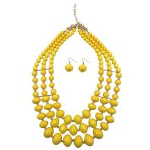 JHWZAIY 6 Colors 3 Layers Acrylic Beads Statement Strand Necklaces (Yellow)