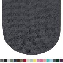 Gorilla Grip Original Luxury Chenille Oval Bath Rug Mat, 42x24, Extra Soft and Absorbent Large Shaggy Bathroom Rugs, Machine Wash Dry, Plush Carpet Mats for Tub, Shower, and Bath Room, Charcoal