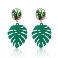 Gold Iridescent Natural Abalone Paua Shell Drop Earrings for Women