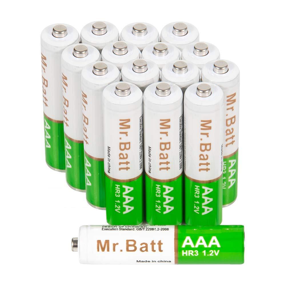 Mr.Batt AAA Rechargeable Batteries, NiMh Triple A 700mAh (16 Pack)