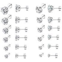 LOYALLOOK 12 Pairs 20G Stainless Steel Ear Stud Piercing Cubic Zirconia Barbell Stud Earring Set Screw Flat Back Earrings for Women