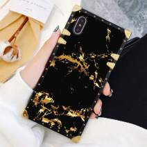 Square Case Compatible iPhone Xs Max Gold Black Marble Luxury Elegant Soft TPU Full Body Shockproof Protective Case Metal Decoration Corner Back Cover iPhone Xs Max Case 6.5 Inch
