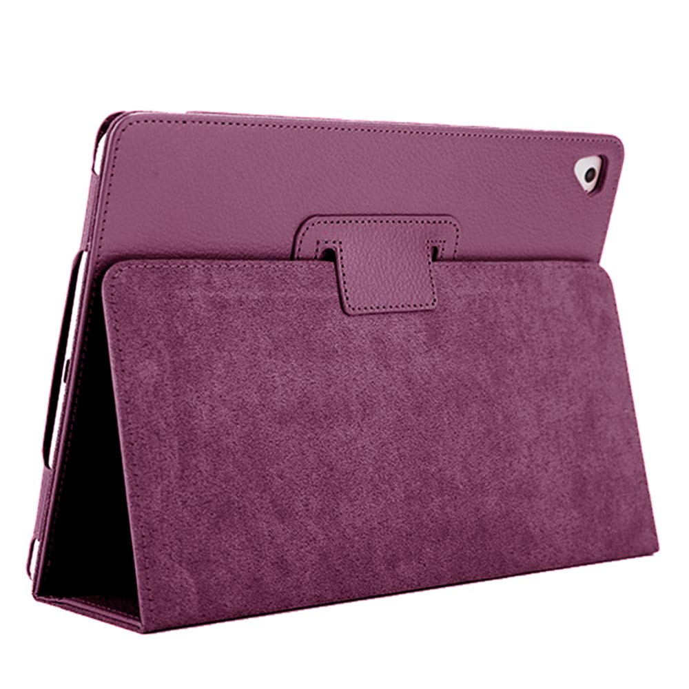 "iPad Air 2 Case,2018/2017 9.7 iPad/Cover,FANSONG Bifold Series Litchi Stria Slim Thin Magnetic PU Leather Smart Cover [Flip Stand,Sleep Function] Universal for Apple iPad Air/Air 2/Pro(9.7""), Purple"