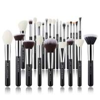 Jessup Brand 25pcs Professional Makeup Brush set Beauty Cosmetic Foundation Power Blushes eyelashes Lipstick Natural-Synthetic Hair Brushes set (Black/Silver)