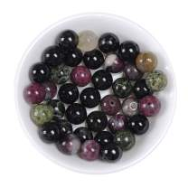 """Natural Stone Real 6mm Colorful Tourmaline Gemstone Round Loose Beads Crystal Energy Stone Healing Power for Jewelry Making DIY,1 Strand 15"""""""