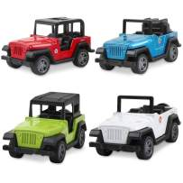 BeebeeRun Jeep Toys Pull Back Vehicles, Jeep Toy Model Vehicles Toy Gifts for Baby Toddler Boys Girls, 4 Pieces Gift Pack(Color Picks at Random)