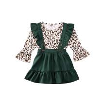 Toddler Baby Girl Leopard Flare Sleeve T Shirt Top Ruffle Suspender Overall Strap Skirt Dress Outfit Set