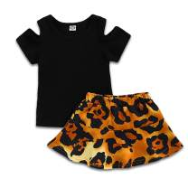 Toddler Kids Baby Girl Summer Outfit Leopard Print Short Sleeve T Shirt Tops Leather Skirt Clothes Set
