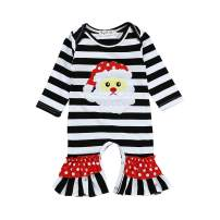 GRNSHTS Baby Girls Boys Christmas Outfits Toddler Kids Stripe Santa Romper Jumpsuit Sleepwear Pajamas Clothes