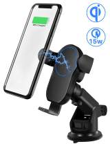 Wireless Car Charger Dash/Windshield Mount, Qi 15W Fast Charger, Phone Holder, Automatic Clamping for iPhone 11/11 Pro/11 Pro Max/X/XR/XS/8/8 Plus, Galaxy S10/S10+/S9/S9+, LG V30/G6, Google Pixel