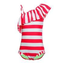 DAYU Girl's One Shoulder Bathing Suits Unicorn Print One Piece Swimsuit Swimwear