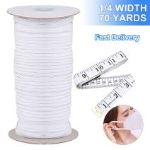 QQCASE Sewing Elastic Band Heavy Stretch High Elasticity Knit Elastic Spool for Sewing Tool/Sewing Waistband White (1/4 Inch & 70Yard)