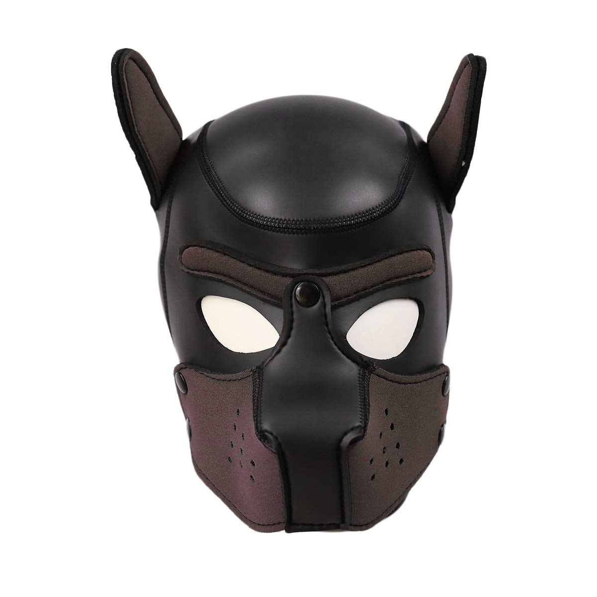 XuShaNeoprene Puppy Full Face Mask Dog Hood Pet Hat Removable Mouth Cosplay Party Props Animal Imitation (L + Brown)