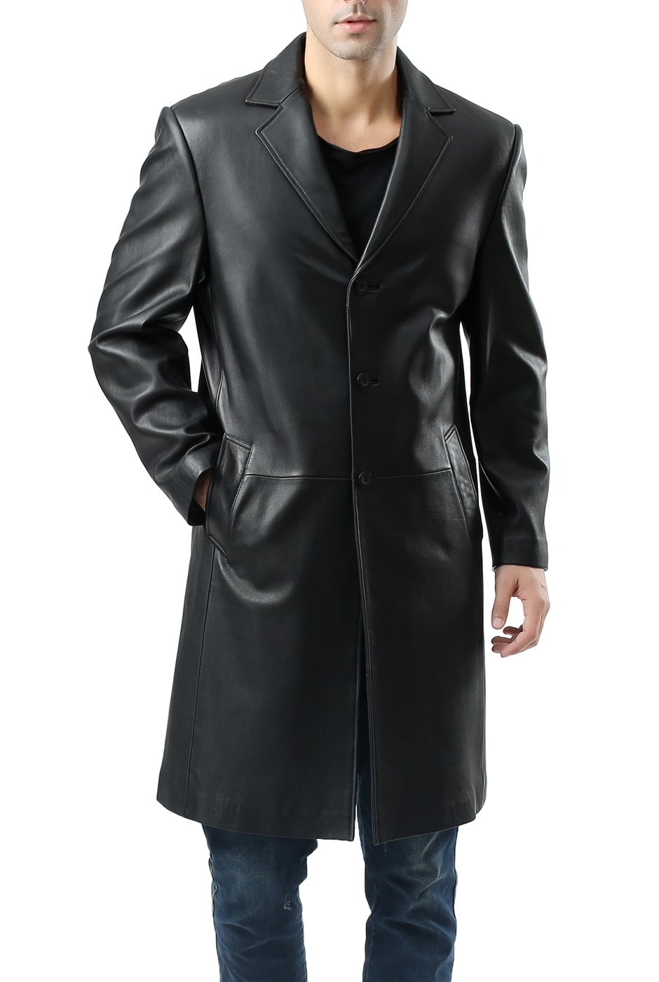 BGSD Men's Classic New Zealand Lambskin Leather Long Walking Coat (Regular and Big & Tall and Short Sizes)