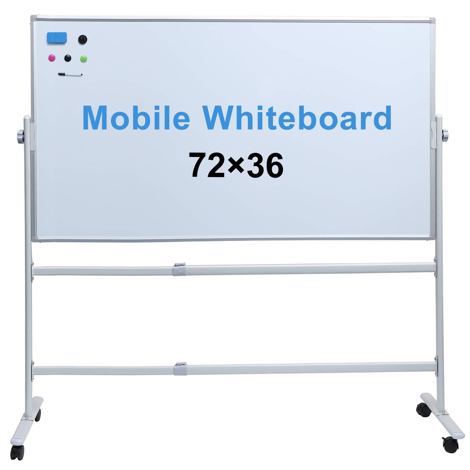 """Whiteboard with Stand 48"""" x 36""""Large Mobile Whiteboard Rolling Magnetic Dry Erase Board Office Classroom White Board on Wheels (72""""×36"""")"""