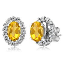 Gem Stone King 1.16 Ct Oval Yellow Citrine Sterling Silver Stud Earrings with Jackets