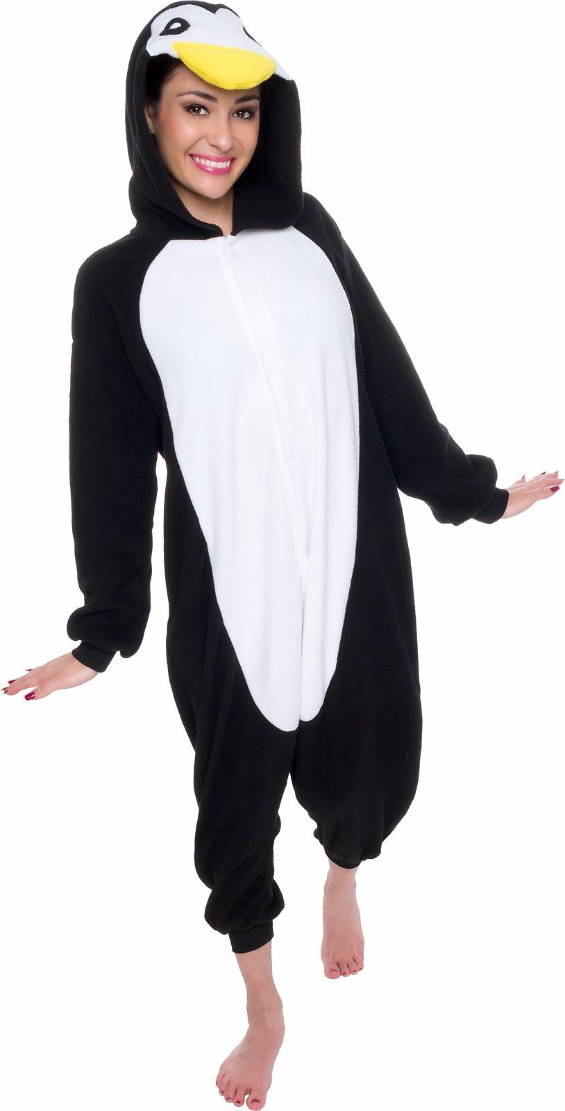 Silver Lilly Unisex Adult Pajamas - Plush One Piece Cosplay Penguin Animal Costume