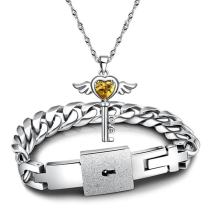 jiang Couples Bracelets Lover Concentric Lock Key Pendant Titanium Steel Jewelry Set (Gold, 25cm)