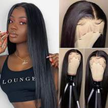 Straight T part Lace Front Wigs Brazilian Virgin Human Hair Wigs for Black Women 13X1 Middle Part Wigs Pre Plucked with Baby Hair Natural Color 150% Density 22 Inch