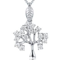 JiangXin Tree of Life Platinum Plated Halo Round Cubic Zirconia Pendant Necklace 925 Sterling Silver Fine Jewelry for Women