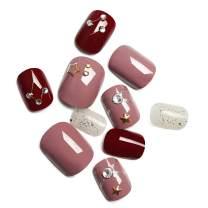 LIARTY 24Pcs Glossy False Nails Kit Short Fake Nail Tips Full Cover for Women and Girls