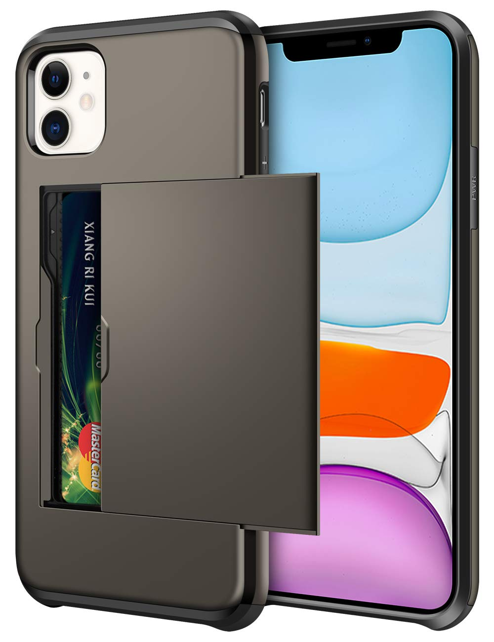 SAMONPOW Wallet Case for iPhone 11 Case with Card Holder Dual Layer Hybrid Shell Heavy Duty Protection Shockproof Anti Scratch Soft Rubber Bumper Cover Case for iPhone 11 6.1 inch Gun Color
