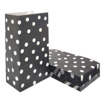 100 PCS Paper Party Favor Bags Black Polka dot Paper Lunch Bags for Kid's Birthday Wedding Party Supplies by ADIDO EVA (5.1 x 3.1 x 9.4 in Black)