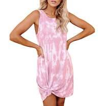 MISSJOY Women's Sleeveless Tie Dye Tunic Tops Casual Swing Tank Mini Tee Shirt Dress