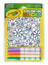 Kid's Color-In Socks - Includes 1 Pair Of Socks And 4 Fabric Markers by Living Royal (Flower Fun)