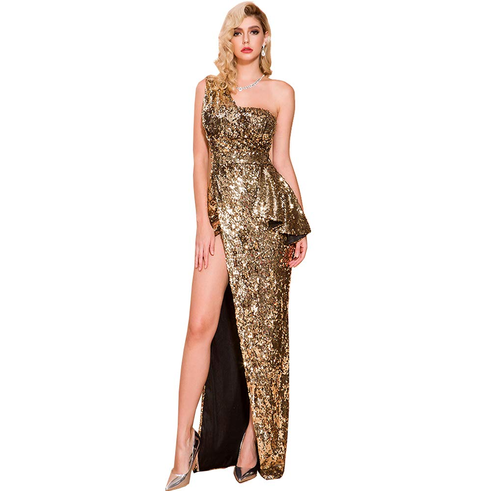 Lin Lin Q Women Sexy Sequin One-Shoulder Backless High Slit Dress Elegant Maxi Gown