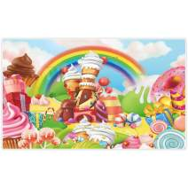 Allenjoy 5x3ft Lollipop Candyland Backdrop Sweet Cartoon Rainbow Party Supplies for Girls Princess 1st First Birthday Decorations Photography Cupcake Icecream Donut Candy Photo Booth Background Props