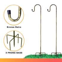 Shepherd-Hooks for Bird-Feeder Lantern Plant-Hook Garden-Stake - Plant Stand Hanger for Outdoor Flower Basket, Bird Feeder Hanger Weddings Decor (Bronze)