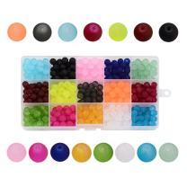 Pandahall 1Box/180pcs 15 Color 10mm Jewelry Glass Beads Transparent Glass Round Beads Frosted Dyed Beads Hole: 1.3-1.6mm