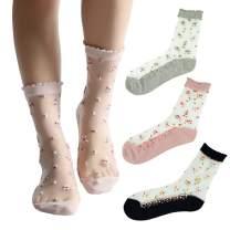 Floosum Womens 6 Pairs Ultrathin Transparent Lace Elastic Short Socks