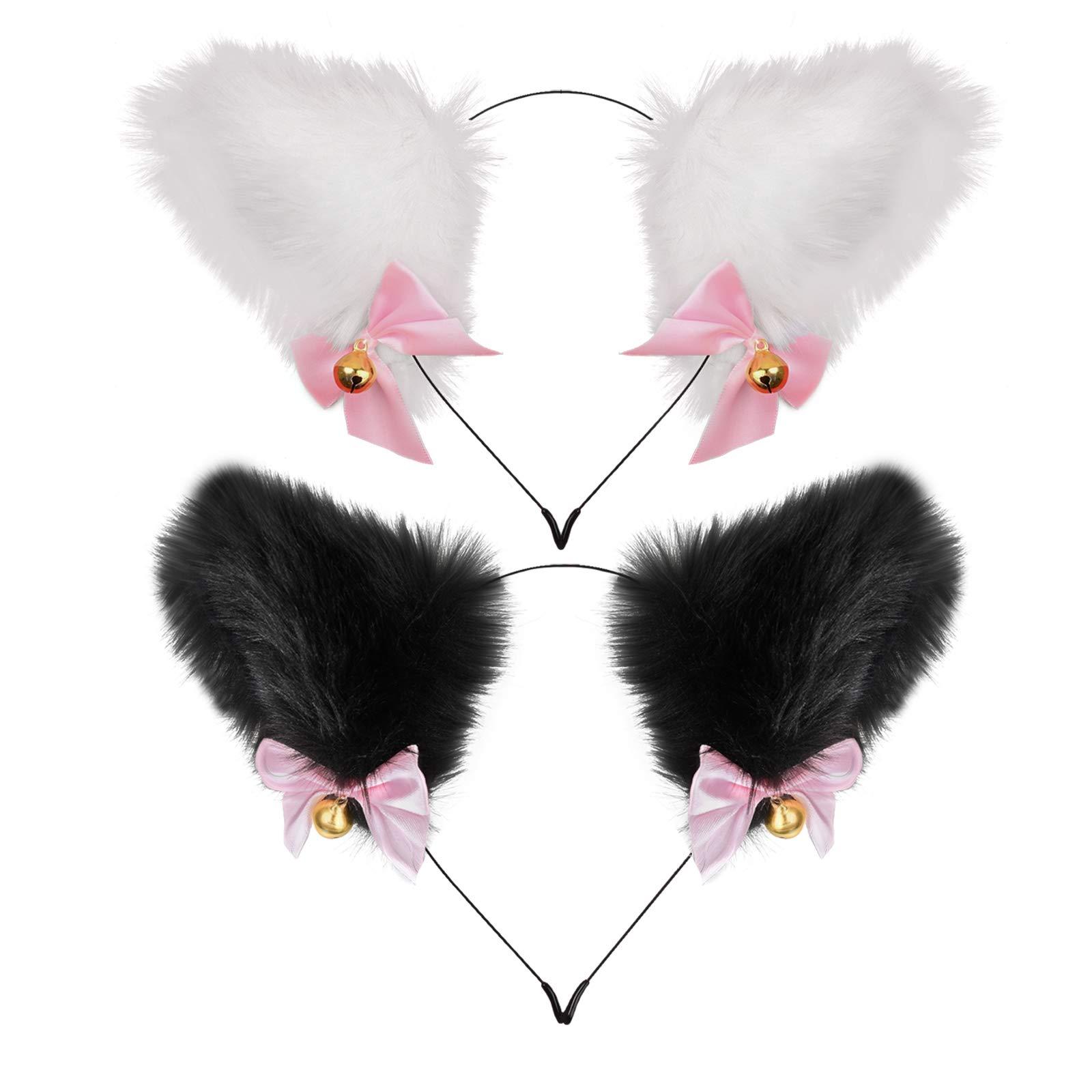 Cosplay Headwear Plush Furry Cat Ear Headband Cute Anime Fox Ears Bell Bows Headpiece Custume Party Halloween Hair Accessory for Ladies and Women ( White , Black )
