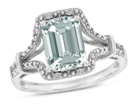 Star K 14k White Gold Octagon Emerald Cut 8x6 Vintage Antique Look Split Shank Ring