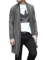uxcell Men's Shawl Collar Cardigan Drape Cape Lightweight Long Length Knit Sweaters