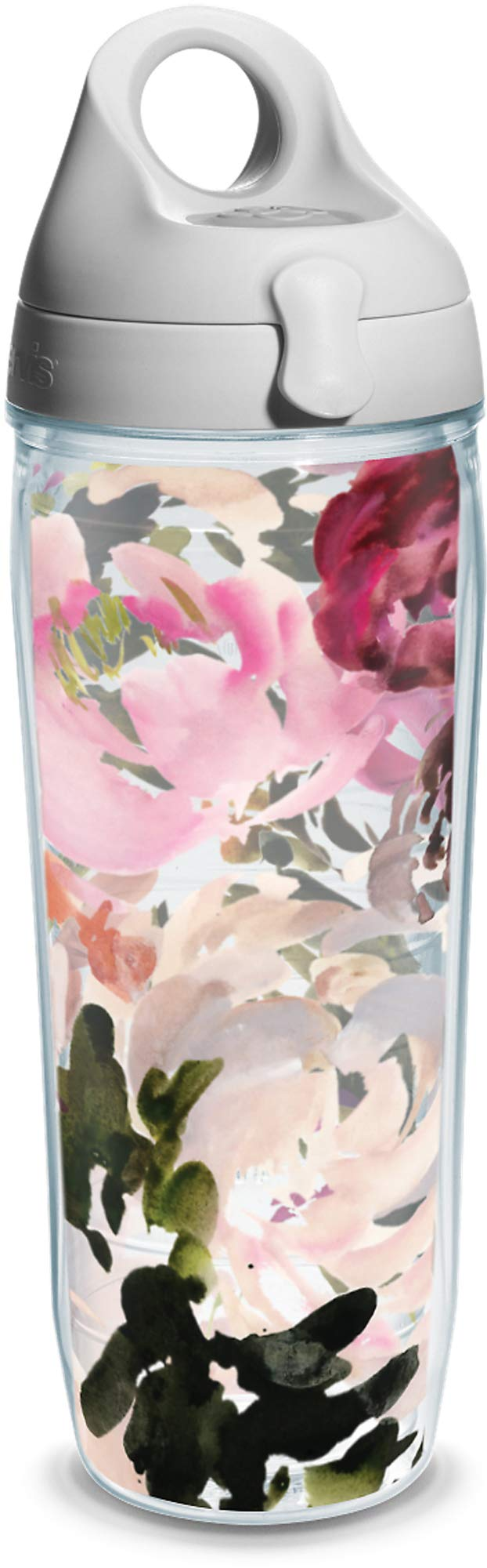 Tervis Kelly Ventura - Posy Insulated Tumbler with Wrap and Gray Lid, 24oz Water Bottle, Clear