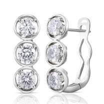 DovEggs 14K White Gold Post 2ct 4.5mm G-H-I Color Moissanite Hoop Earrings Platinum Plated Silver for Women