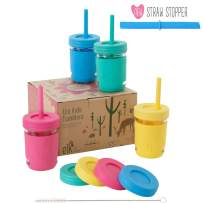 Elk and Friends Kids Cups/Toddler cups with Silicone Straws – Glass Mason Jars 8 oz with Silicone Sleeves + Straws + Straw Lids + Leakproof Lids – Spill Proof cups for Kids, Sippy Cups for Toddlers