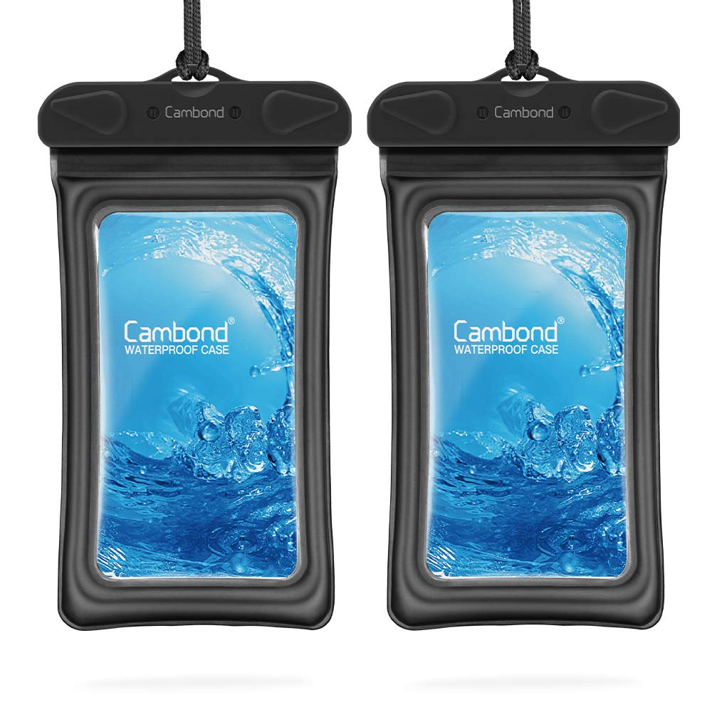 """Floatable Waterproof Phone Pouch, Floating Water Proof Cell Phone Case for iPhone Xs Max/XR/X/8/8P/7/6S Galaxy up to 6.5"""", Lanyard Dry Bag for Snorkeling Pool Beach Kayaking Travel (2 Pack Black)"""